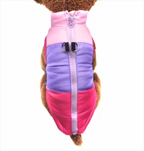 犬服 ペット服 冬服 防寒 あったか ベスト 中綿 お出かけ アウトドア 小型犬 中型犬 バイカラー  マルチ